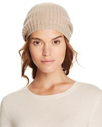 Bloomingdale's C By Cashmere Rib Slouch Hat Light Oatmeal