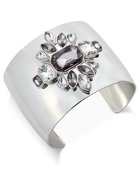 Inc International Concepts Silver Tone Open Crystal Floral Cuff Bracelet Only At Macy's
