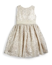 Susanne Lively Sleeveless Sequin Party Dress Ivory Pewter Size 4 6X Silver
