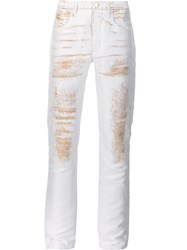 Calvin Klein Collection Metallic Detail Tapered Trousers White