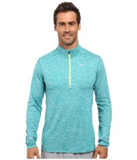 Nike Dry Element Long Sleeve Running Top Teal Charge Heather Volt Reflective Silver Men's Long Sleeve Pullover Blue