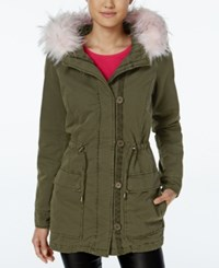 Madden Girl Faux Fur Trim Hooded Parka Olive Pink