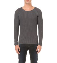 Replay Enzyme Wash Cotton Jumper Charcoal