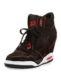 Ash Best Contrast Pipe Trimmed Wedge Sneaker Black Coral