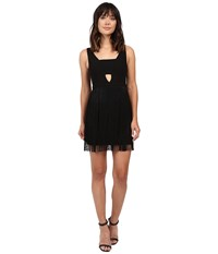 Aidan Mattox Cocktail Tank Dress With Fringe Skirt And Keyhole Detail Black Women's Dress