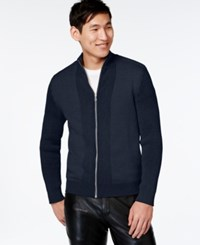 Inc International Concepts Yes Full Zip Sweater Only At Macy's Basic Navy