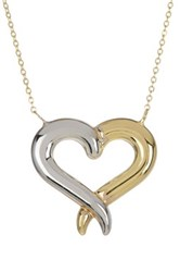 14K Yellow And White Gold Shiny Graduated Tube Open Heart Pendant Necklace Multi