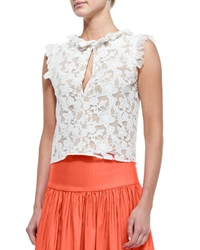 Alexis Fran Sleeveless Ruffle Trim Lace Crop Top White