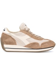 Diadora Panelled Lace Up Sneakers Nude Neutrals