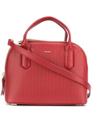 Dkny Small Striped Tote Red
