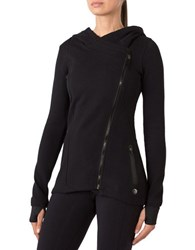 Mpg Julianne Hough Curated Pave Asymmetrical Zip Front Jacket Black