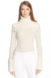 Tory Burch Chunky Fringed Turtleneck Sweater New Ivory