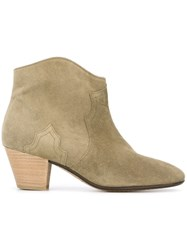 Isabel Marant 'Dicker' Cowboy Ankle Boots Nude And Neutrals