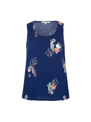 Yumi Peacock Print Vest Top Navy