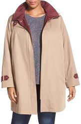 Gallery Plus Size Women's Water Repellent A Line Rain Jacket Calvary