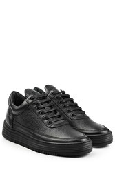 Filling Pieces Top Stripe Leather Sneakers Black