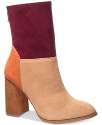 Chinese Laundry Classic Suede Block Heel Booties Women's Shoes Camel Multi