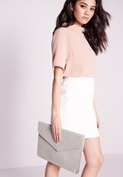 Missguided Oversized Envelope Clutch Bag Grey