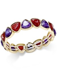Charter Club Gold Tone Multi Stone Stretch Bracelet Only At Macy's