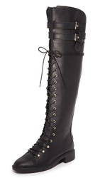 Joie Gryffin Lace Up Over The Knee Boots Black