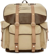 Balmain Beige Canvas And Leather Backpack