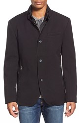 Men's Black Rivet Woven Jacket With Removable Quilted Bib