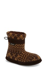 Woolrich Women's Whitecap Knit Slipper Bootie Java Snowshoe Fabric