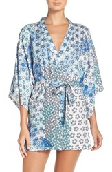 Josie Women's Floral Print Happi Coat Blue Multi