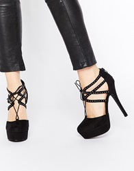 New Look Studded Lace Up Heels Black