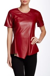 Gracia Faux Leather Short Sleeve Asymmetrical Top Red