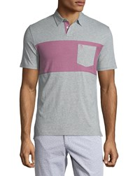 Penguin Short Sleeve Colorblock Polo Shirt Gray Rain Pink