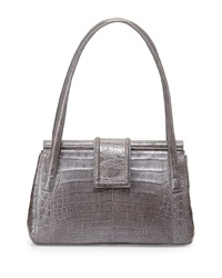 Nancy Gonzalez Structured Crocodile Satchel Bag Dark Gray
