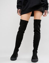 Asos Kali Creeper Over The Knee Boots Black