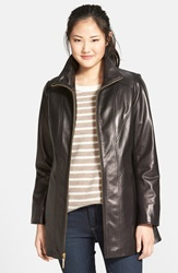 Leather A Line Coat Online Only Black