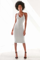 Silence And Noise Silence Noise Voop Ribbed Knit Midi Dress Black And White