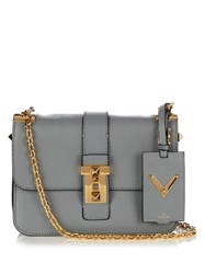 Valentino B Rockstud Smooth Leather Shoulder Bag Grey