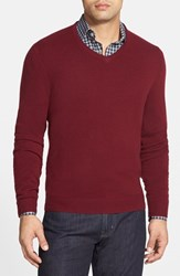 Men's Big And Tall John W. Nordstrom Cashmere V Neck Sweater Burgundy Stem