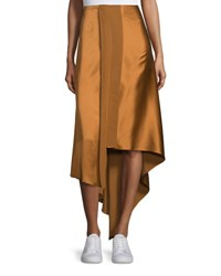 Elizabeth And James Sydney Silk Satin Midi Skirt Coppertone