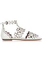 Alaia Laser Cut Patent Leather Sandals White
