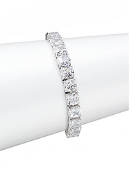 Cz By Kenneth Jay Lane Cushion Cut Tennis Bracelet Rhodium