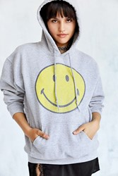 Urban Outfitters Smiley Face Hoodie Sweatshirt Grey