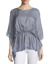 A.Z.I. Butterfly Sleeve Peplum Blouse Gray