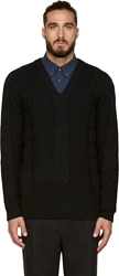08Sircus Black Oversized Cable Knit V Neck Sweater