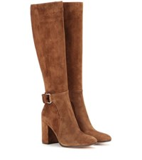 Gianvito Rossi Lawrence Suede Knee High Boots Brown