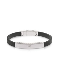 Emporio Armani Stainless Steel And Rubber Men's Bracelet Black