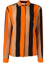 Msgm Concealed Fastening Striped Shirt Yellow Orange