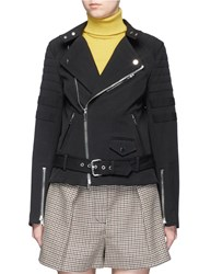 3.1 Phillip Lim Sculpted Twill Motorcycle Jacket Black