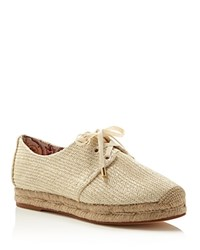 Joie Wallie Raffia Lace Up Espadrille Flats Ivory