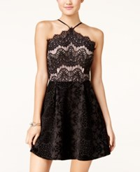 Trixxi Juniors' Lace Faux Suede Detail Dress Black