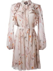 Giambattista Valli Floral Print Longsleeved Dress Pink And Purple